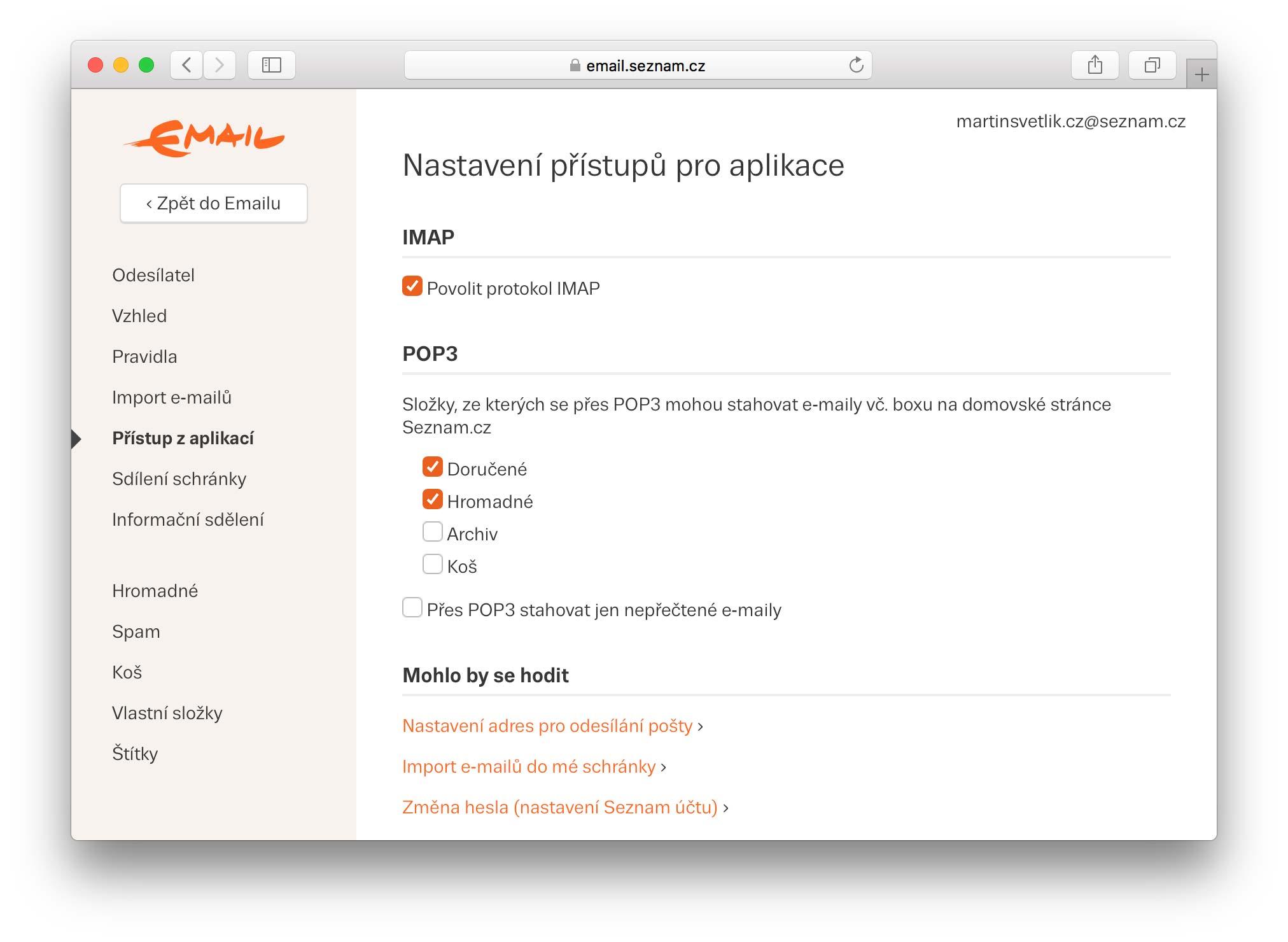 Povolení protokolu IMAP na Seznam.cz