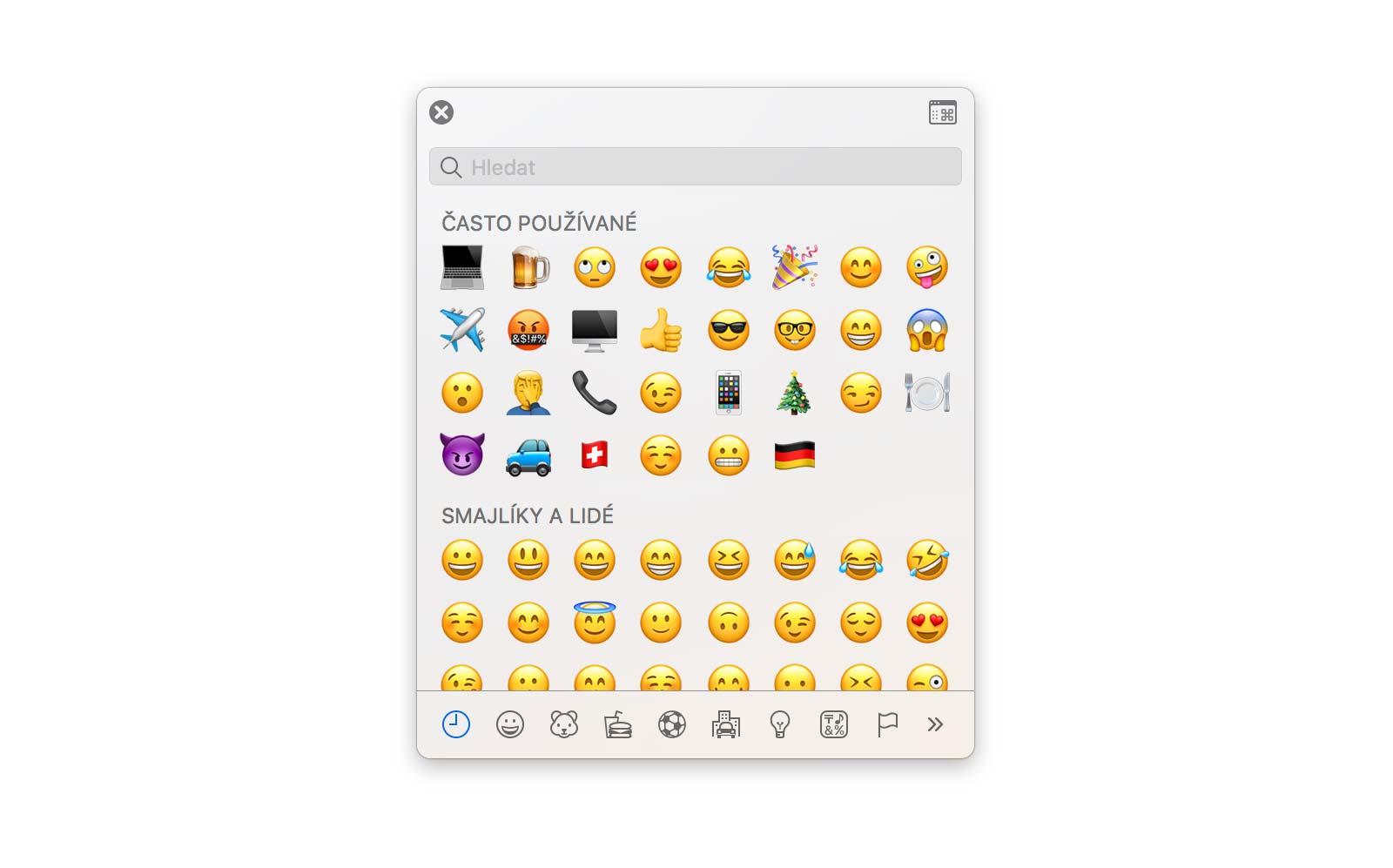 Emoji a symboly na Macu